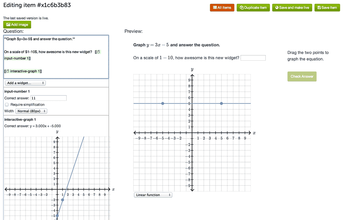screenshot of Khan Academy question editor